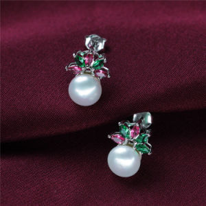 Zircon Sterling Silver Natural Freshwater Pearl Earring Stud pictures & photos