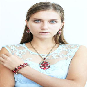 New Item Red Resin Fashion Jewellery Set Necklace Stretch Bracelets pictures & photos