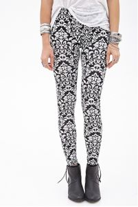 Damask Print Leggings with Elasticized Waist pictures & photos