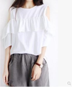 Lady Fashion Clothes Round Neck Sports Wear Women Summer White T-Shirt pictures & photos