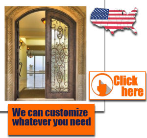 Iron Door Design Security Metal Steel Glass Exterior Gate Cheap Wrought pictures & photos