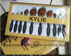 Kylie Toothbrush Cosmetic Brush Set 10PCS Gold Package Oval Makeup Brush pictures & photos