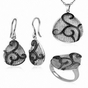 Black and White Diamond Jewelry Set 925 Sterling Silver pictures & photos