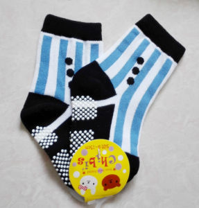 Baby′s 100 Cotton Loose Cuff Anti-Slip Skidder Toddler Fuzzy Socks pictures & photos