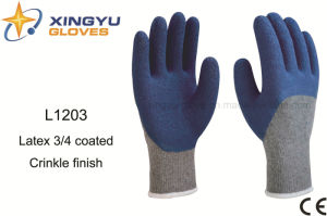 10g T/C Shell Latex 3/4 Coated Crinkle Safety Work Glove (L1203) pictures & photos