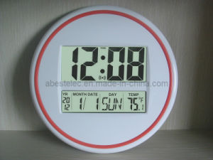 Large Round Wall Clock with Big LCD Display
