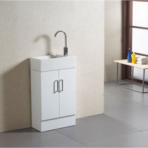 Fashinable Wooden Bottom Bathroom Cabinet with White Ceramic Basin and Faucet pictures & photos