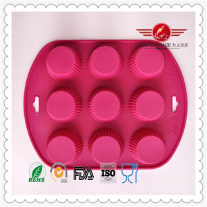 9 Cavities Rose Red Silicone Cake Pan Baking Mold pictures & photos
