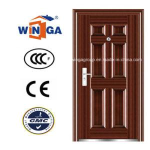 Serbia Market Popular Brown Color Metal Security Steel Door (W-S-96) pictures & photos