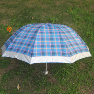 3-Folding Checker Sliver Coated Umbrella (YSF3053)