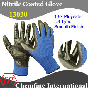 U3 Type 13G Blue Terylene Knitted Glove with Black Smooth Nitrile Coating pictures & photos