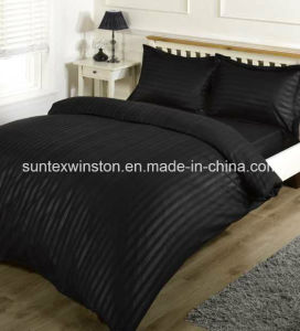 100% Polyester Satin Embossed Stripe Dyed Duvet Cover Sets pictures & photos