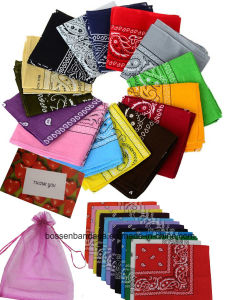 OEM Produce Customized Logo Printed Promotional Cotton Paisley Bandana Headwrap pictures & photos