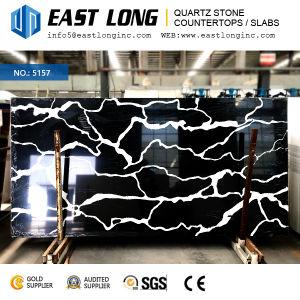 Premium Black Color Quartz Stone Polished Countertops for Homedecoration/Kitchen Design with 3200*1600mm pictures & photos