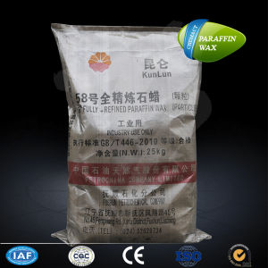 Kunlun Industrial Using Granular Fully Refined 58/60 Paraffin Wax 25kg Woven Bag pictures & photos