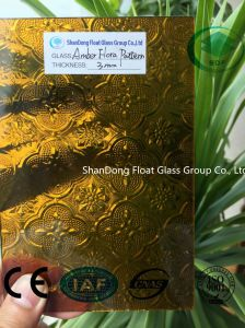 Amber Flora Patterned Glass with Ce, ISO (3-8mm) pictures & photos