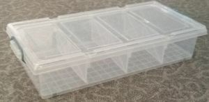 Plastic Rolling Box Underbed with Divisions 28L High Clear PP/Storage Bin/Container pictures & photos
