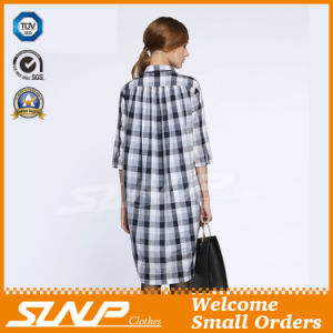 Women′s Cotton Plaid Half Sleeve Flannel Shirt