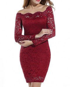 Custom Hot Sale Sexy Lace Long Sleeves Wholesale Package Buttocks A-Line Lady′s Dress pictures & photos