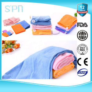 Various Colour Wholesale Small MOQ Hair Drying Microfiber Cloth with Button pictures & photos