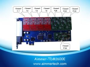 Tdm1600e 16 FXO/FXS Asterisk Card PCI-Express Card Support Asterisk / Trixbox /Elastix