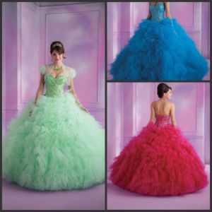 Sweetheart Beading Crystals Quinceanera Dress Blue Green Ball Gown Yao29 pictures & photos