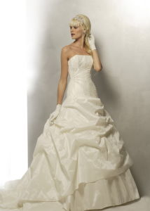 Ivory Strapless Taffeta Applique Informal Wedding Dress
