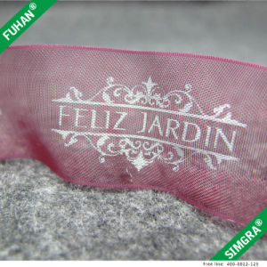 Nice Design High Strength Silver Logo Organza Ribbon pictures & photos
