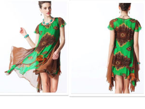 Wholesale European Irregular Flounced Printing Dress pictures & photos
