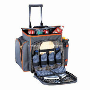Collapsible Trolley Picnic Cooler Bag with Rolling Wheel pictures & photos