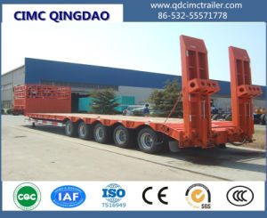 Cimc Low Bed/Low Body/Low Loader Semi-Trailer with 4 Axles Truck Chassis pictures & photos