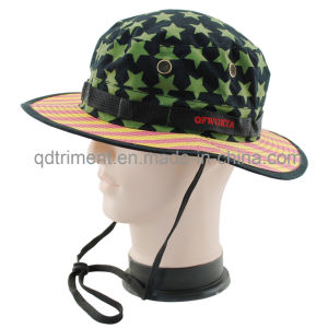 Mesh Metal Eyelets Printed Cotton Twill Leisure Bucket Hat (TMBT0250) pictures & photos