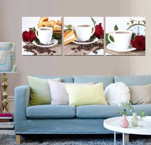 3 Panel Wall Art Oil Painting Coffee Painting Home Decoration Canvas Prints Pictures for Living Room Framed Art Mc-259 pictures & photos