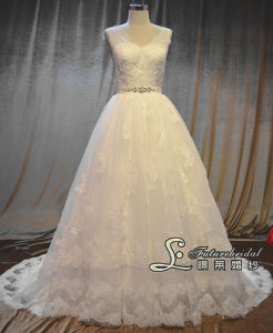 2014 Franch Lace Wedding Dress Gown and Strap a-Line From Spain Wedding Dresses Designer (