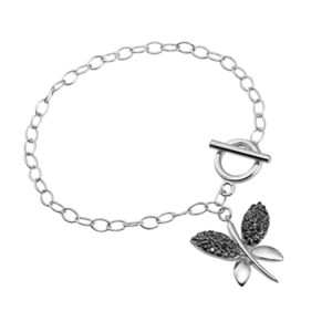Sterling Silver Link Bracelet with Butterfly Charm