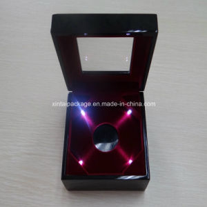High Glossy Wooden Gold Coin Box with LED Lights