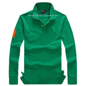 Green Long Sleeve T-Shirt with Polo Neck pictures & photos
