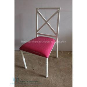 Modern Cross Back Metal Dining Chair for Restaurant (HW-1396C)
