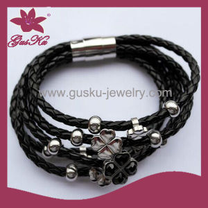 Fashion Hot Sale Stainless Steel Leather Bracelet (2015 Gus-Stlb-055) pictures & photos