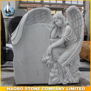Quality Carved Weeping Angel Headstone White Marble pictures & photos