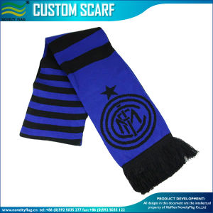 Custom Pattern Knit Acrylic Football Jacquard Scarves (J-NF19F10022) pictures & photos