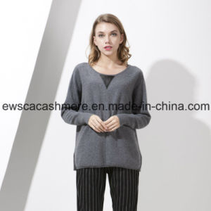 Women′s Top Grade Pure Cashmere Knitwear with Leather pictures & photos