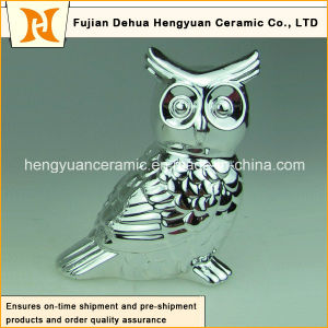 Electroplated Decoration Couple Ceramic Owl Figurine pictures & photos