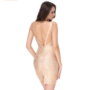 Hot Gold Double Shoulder Scoop Neck Ladies Wearing Fashion Bandage Dress pictures & photos