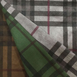 Checks Design Printing Suede Fabric for Coat/Jacket/Pants