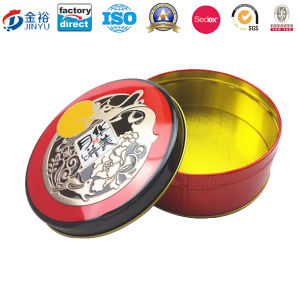 Embossing Round Shaped Metal Cookie Jar for Food Packaging pictures & photos