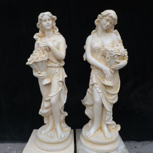 Yellow/ White Marble Carving Sculpture for Outdoor Graden pictures & photos