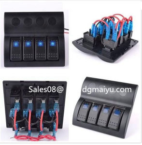 Marine Waterproof Rocker Switch Panel with Blue Light 4 Gang Combined Car Switc pictures & photos
