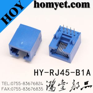 RJ45 Female Connector/RJ45 PCB Connector with Blue Color (HY-RJ45-B1A) pictures & photos