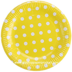 "7"" Yellow with White DOT Paper Luncheon Plates pictures & photos"